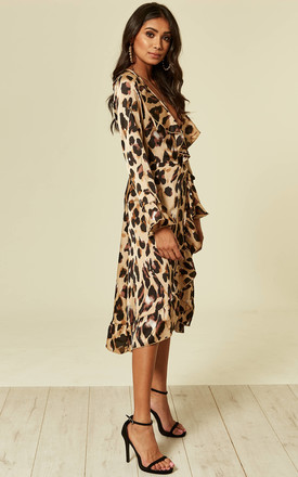 Leopard Wrap Closed Midi Dress in Brown by Foreva Young