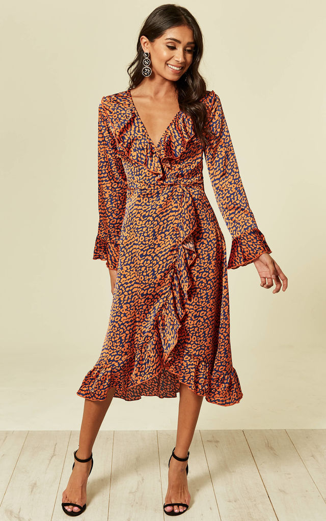 b8a374fac Navy Leopard Wrap Closed Midi Dress | Foreva Young | SilkFred