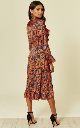 Navy Leopard Wrap Closed Midi Dress by Foreva Young