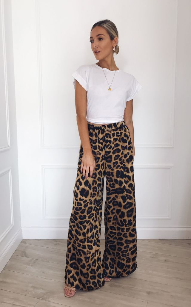 Tallulah Satin Wide Leg Trousers - Leopard Print by Pretty Lavish
