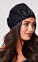 Beatrice Flapper Turban in Black by Gatsbylady London