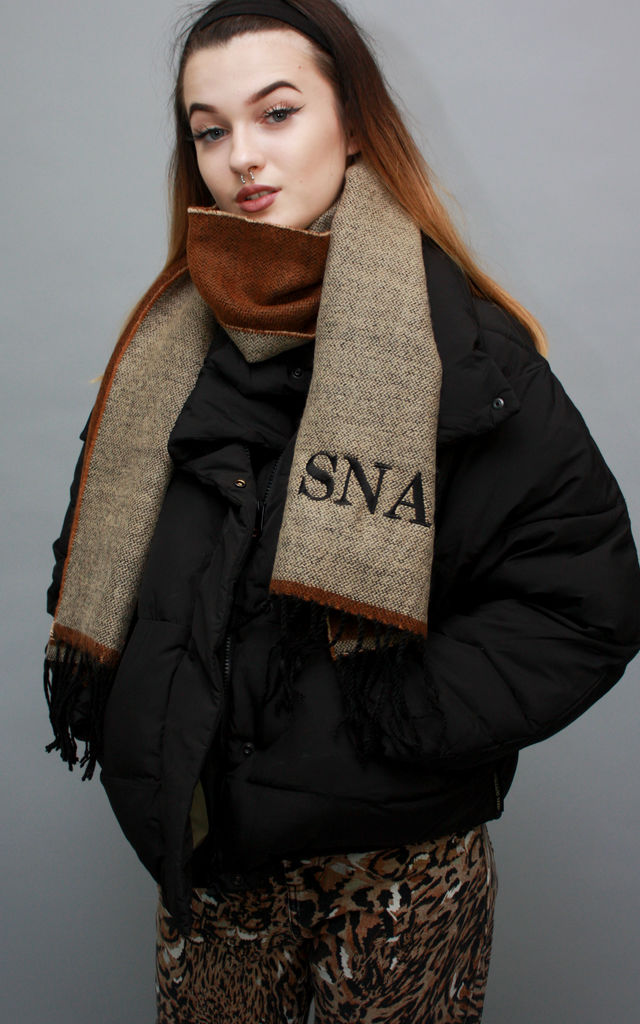 Scarf in Brown with Custom Initials by Save The People