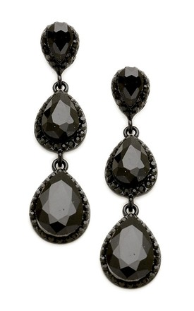 Jet Black Three Tier Jewelled Teardrop Earrings by Olivia Divine Jewellery Product photo