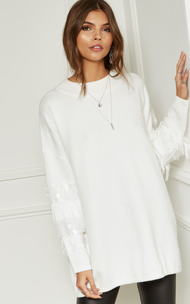 White High Neck Jumper With Sequin And Fringing On The Sleeves by Bella and Blue Product photo