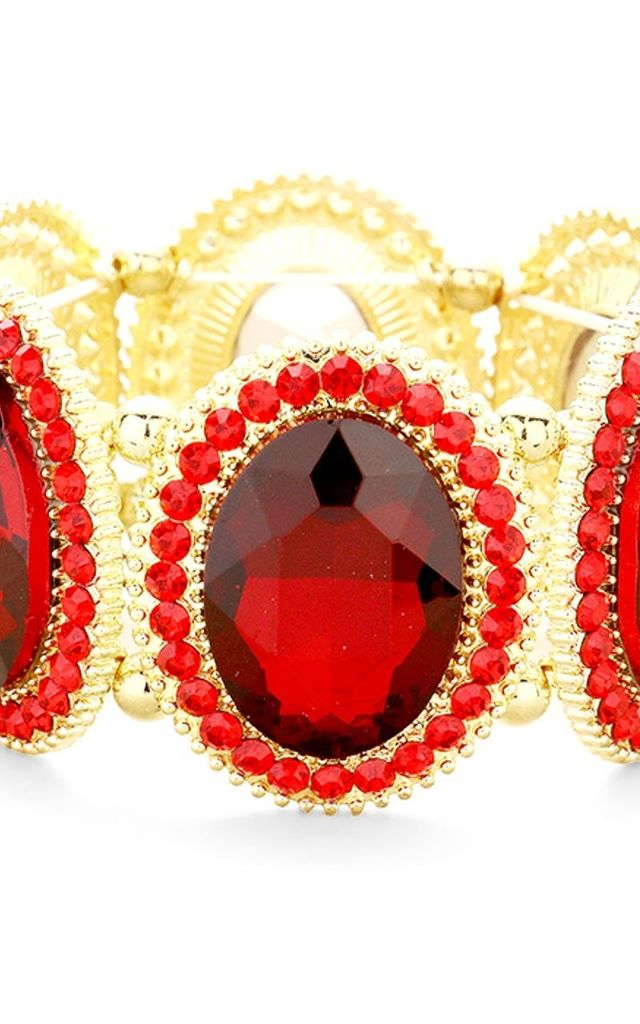 Chunky Red Crystal Jewelled Stretch Bracelet by Olivia Divine Jewellery