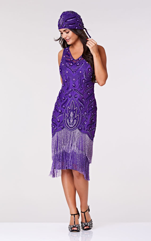 Hollywood Fringe Flapper Dress in Purple by Gatsbylady London