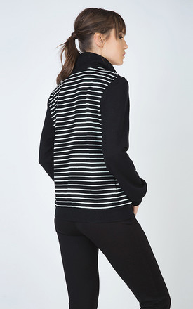 Long Sleeve Cardigan in Striped Knit Fabric by Conquista Fashion
