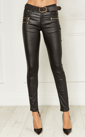 0452b91bdf3b Black Leather Look Skinny Trousers With Gold Zip Detail | Lilah Rose ...