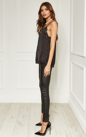 Black Leather Look Skinny Trousers With Gold Zip Detail by Bella and Blue