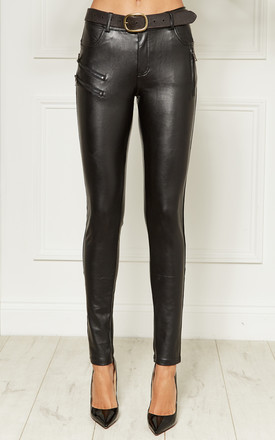 Black Faux Leather Skinny Trousers With Black Zip Detail by Bella and Blue Product photo