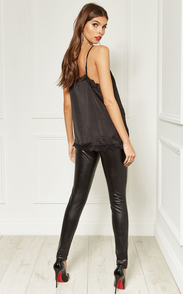 Black Faux Leather Skinny Trousers With Black Zip Detail by Bella and Blue