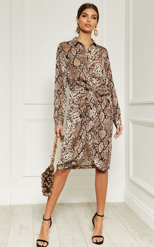 5c97ae15d762e Snake Skin Midi Shirt Dress With Knot Detail And Collar | Lilah Rose ...
