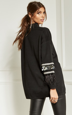 Black High Neck Jumper With Silver Sequin Sleeve Detail by Bella and Blue