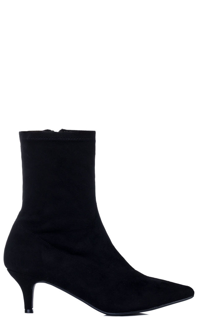 AVERYY Kitten Heel Ankle Boots Shoes - Black Suede Style by SpyLoveBuy