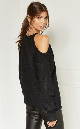 Black Cold Shoulder Knitted Jumper by Bella and Blue Product photo