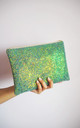 Glitter Clutch Bag in Mermaid Green by Suki Sabur Designs