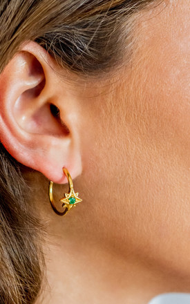 Guiding North Star Gold Gemstone Hoops In Emerald by Charlotte's Web Product photo