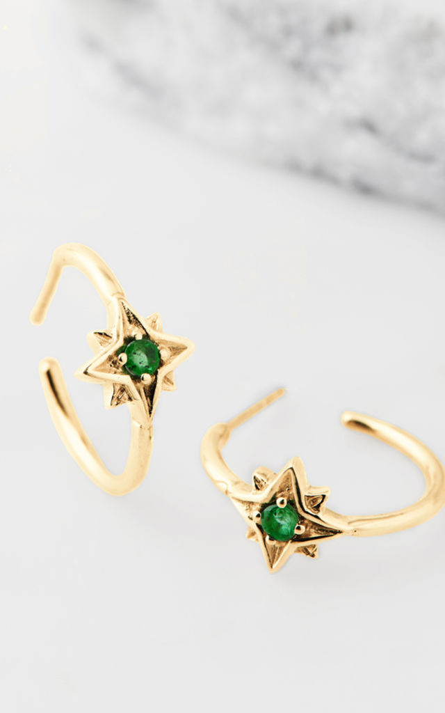 Guiding North Star Gold Gemstone Hoops in Emerald by Charlotte's Web