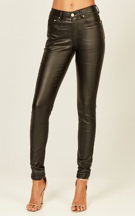 Black Faux Leather Skinny Trousers by Phoenix & Feather Product photo