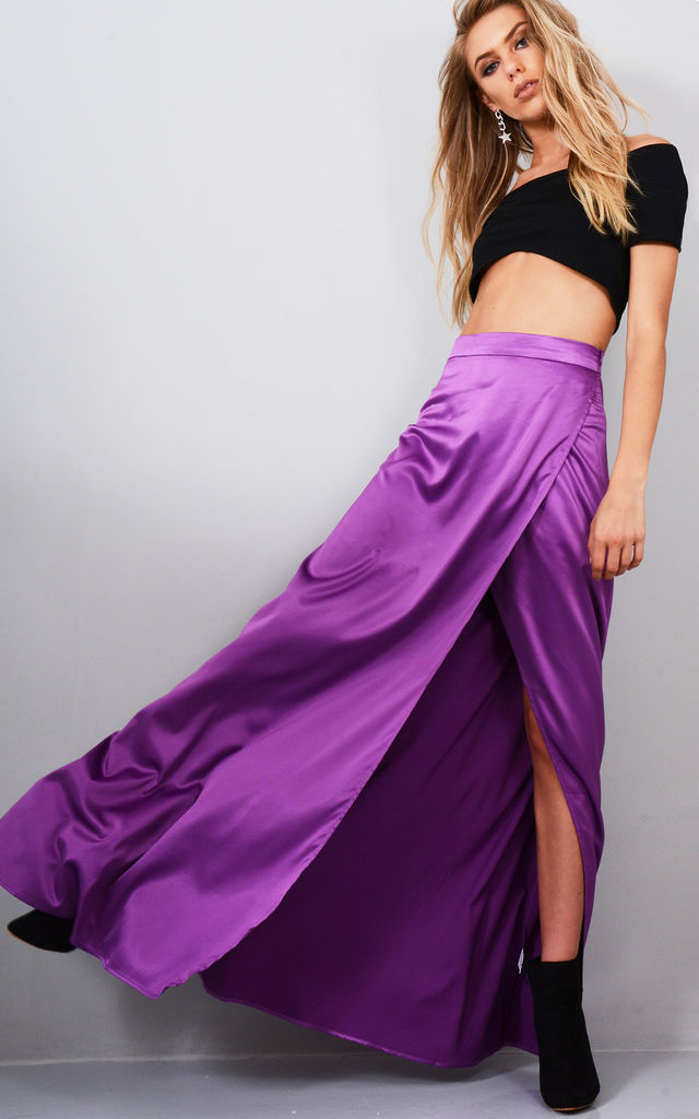 Purple Satin High Waisted Maxi Skirt With Side Split by LOVEMYSTYLE