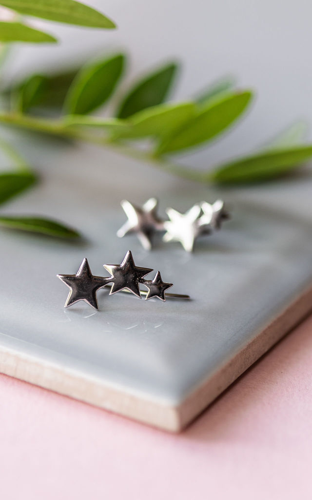 Sterling Silver Shooting Star Ear Climber Earrings by Collections by Hayley