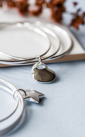 Silver Heart Charm Bangle by Collections by Hayley