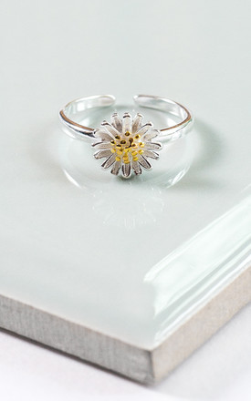 Sterling Silver Adjustable Daisy Ring by Collections by Hayley