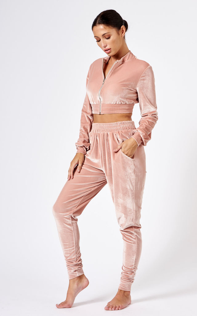 Pink Velour Co-Ord Tracksuit Set by Club L London