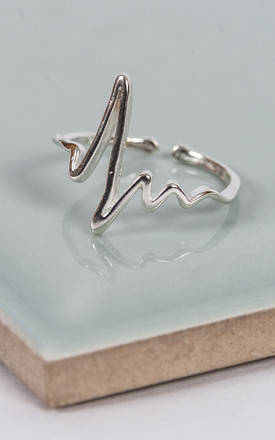 Sterling Silver Loves Beat Adjustable Ring by Collections by Hayley