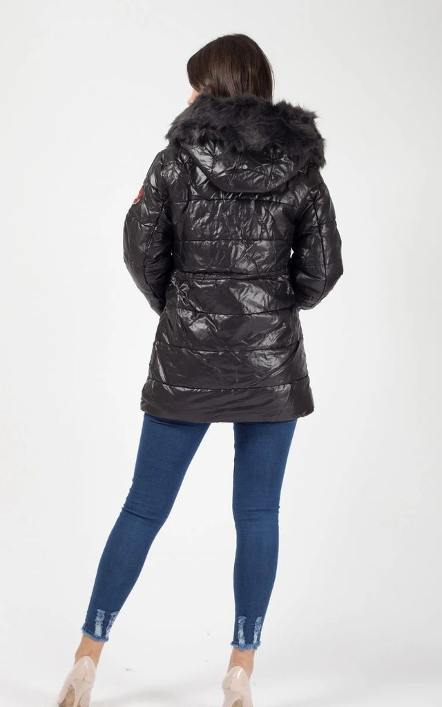 Black Faux Fur Hood Padded Jacket by Aftershock London