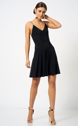 6a93a8656a56 Black Strappy Plunge Skater Dress | Club L London | SilkFred