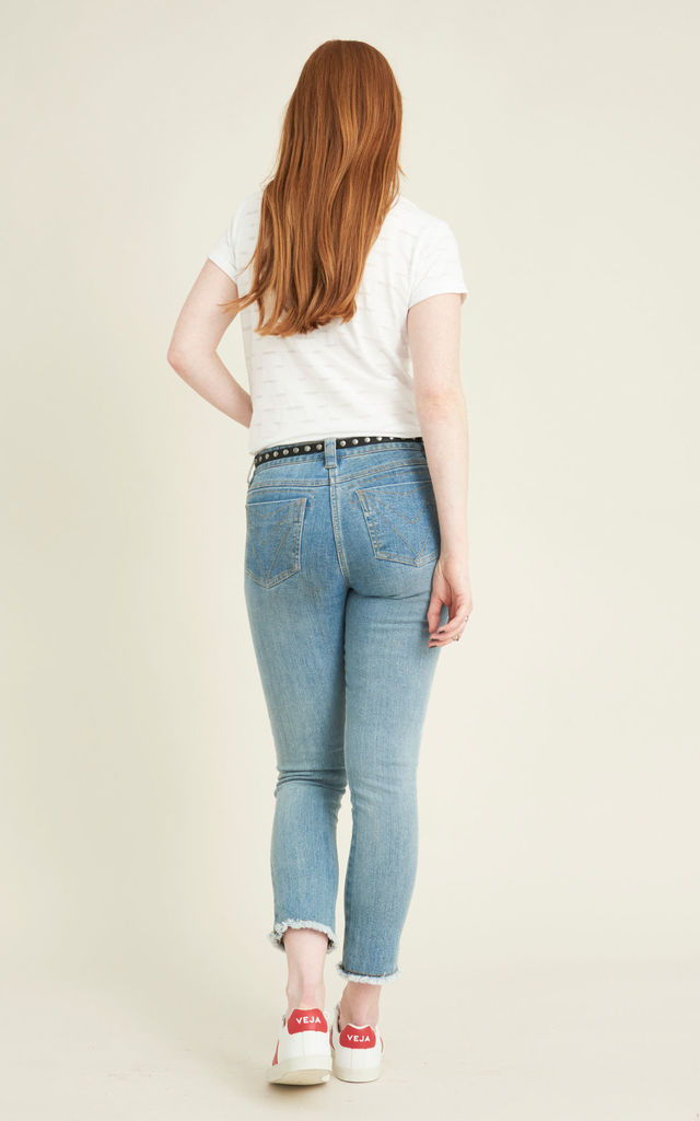Socotra organic cotton ankle grazing denim jeans with frayed hem by VILDNIS