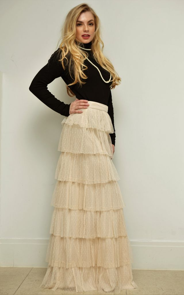 Amelia Layered Maxi Skirt -  Nude by Shade Your Style
