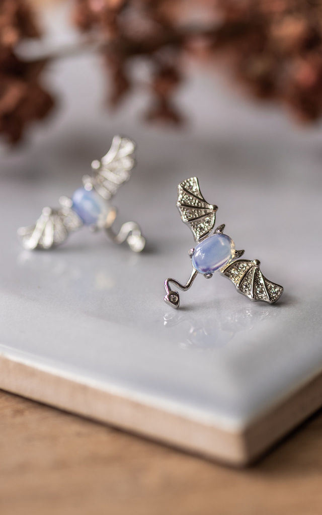 Sterling Silver Opal Bat Earrings by Collections by Hayley