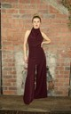 High Neck Wide Leg Jumpsuit in Maroon by House Of Lily