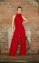 High Neck Wide Leg Jumpsuit in Red by House Of Lily