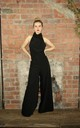 High Neck Wide Leg Jumpsuit in Black by House Of Lily