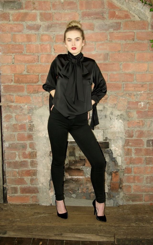 3/4 Sleeve Pussy Bow Blouse - Black Satin by House Of Lily