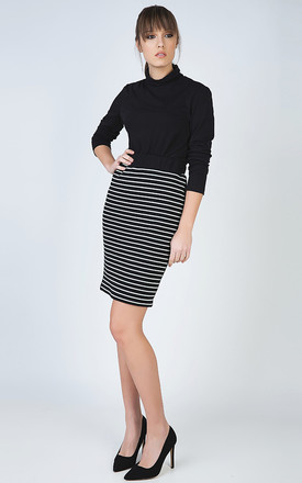 Striped Pencil Skirt in Rib Knit Fabric by Conquista Fashion