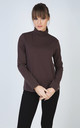 Brown Long Sleeve Polo Neck Jumper by Conquista Fashion
