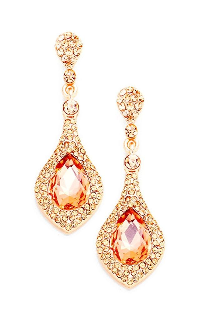 Rose Gold Crystal Pave Teardrop Earrings by Olivia Divine Jewellery
