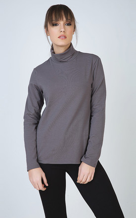 Dark Grey Long Sleeve Polo Neck Jumper by Conquista Fashion