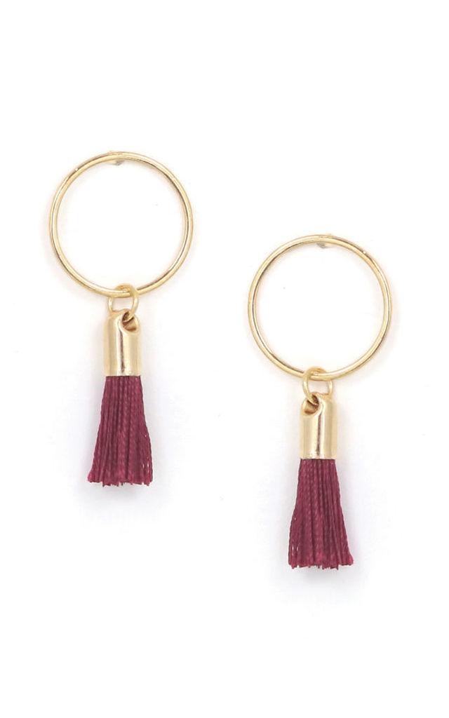 Solar Tassel Earrings in Burgundy Red by Apache Rose London