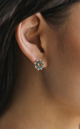 Starboard Earrings In Bottle Green by Apache Rose London Product photo