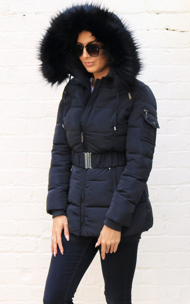 f266b6c5b Piper Quilted Longline Hooded Puffer Coat With Faux Fur Trim & Belt In  Black By One Nation Clothing