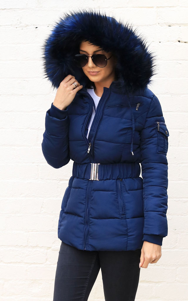 907b7e5b0 Piper Quilted Longline Hooded Puffer Coat With Faux Fur T...