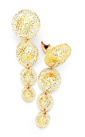 Gold Clip-On Disc Drop Statement Earrings by Olivia Divine Jewellery