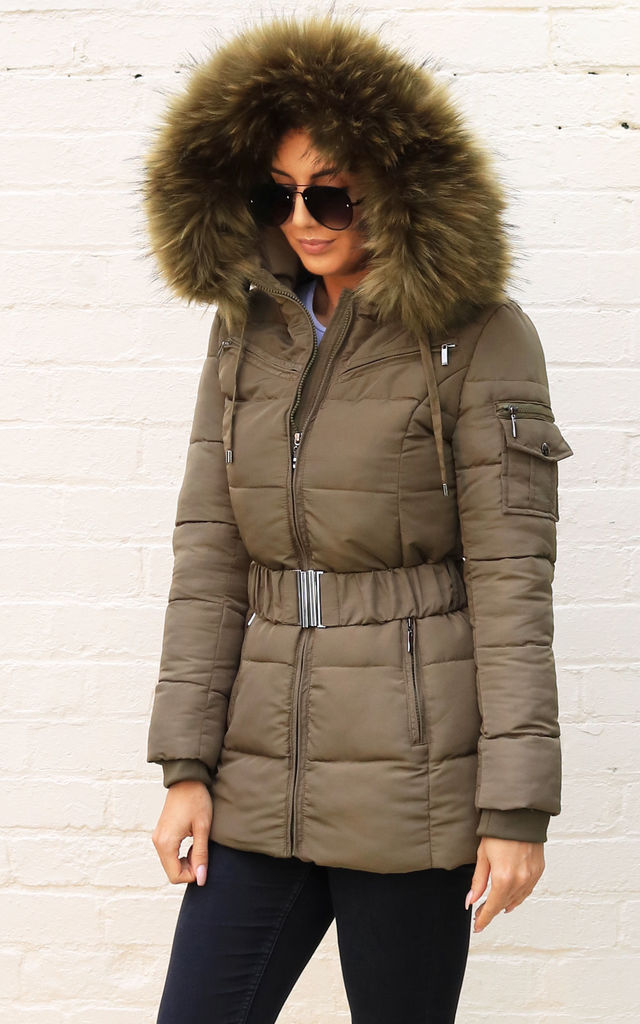 3674a8496 Piper Quilted Longline Hooded Puffer Coat With Faux Fur Trim & Belt In  Khaki Green By One Nation Clothing