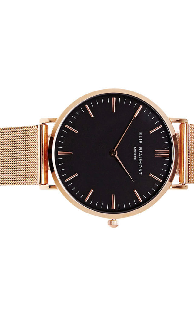 Oxford Large Mesh Black Dial/Rose gold Watch by Elie Beaumont