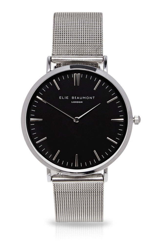 Oxford Large Mesh Black Dial/Silver Watch by Elie Beaumont